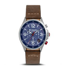 Columbia Canyon Ridge Navy Chronograph Date Saddle Leather Watch
