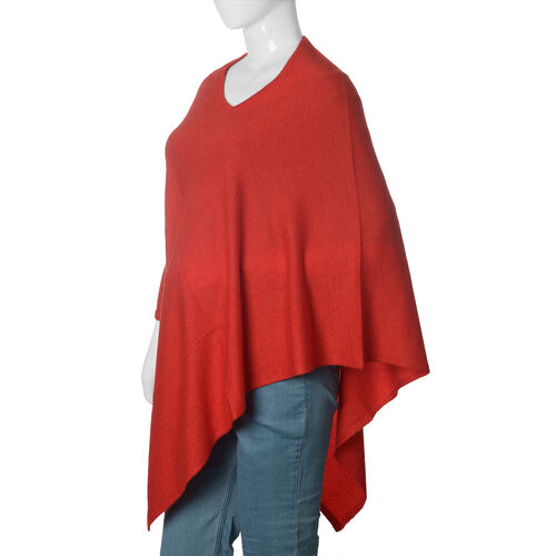 Limited Available - 100% Pashmina Wool Red Colour Poncho (Free Size)