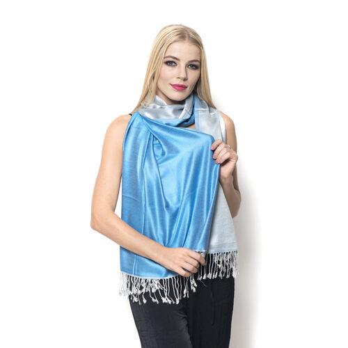 100% Superfine Silk Purple and Dark Slate Blue Colour Jacquard Jamawar Scarf with Fringes (Size 185x