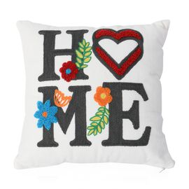 White and Multi Colour Home Embroidery Decorative Cushion (Size 30x30 Cm)