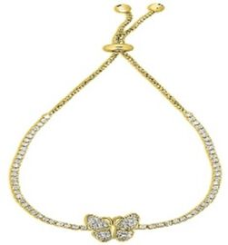 Simulated Diamond Adjustable Butterfly Bolo Bracelet (Size 6.5-9.5) in Gold Tone