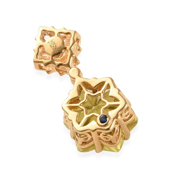Limited Edition - GP Lotus Cut Brazilian Green Gold Quartz, Cambodian Zircon and Blue Sapphire Pendant in 14K Gold Overlay Sterling Silver 10.130 Ct.