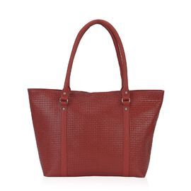 100% Genuine Leather Weave Pattern RFID Protected Tote Bag (Size 43x28.5x8 Cm) - Red