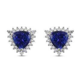 RHAPSODY 950 Platinum AAAA Tanzanite and Diamond (VS/E-F) Stud Earrings (with Screw Back) 3.25 Ct.