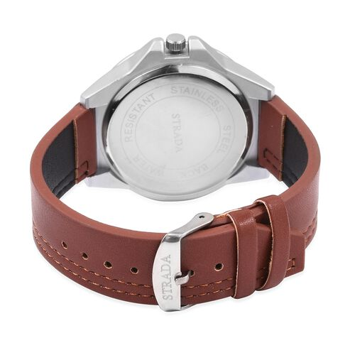 STRADA Japanese Movement Water Resistant Silver Plated Watch with Black Dial and Dark Brown Colour Strap.