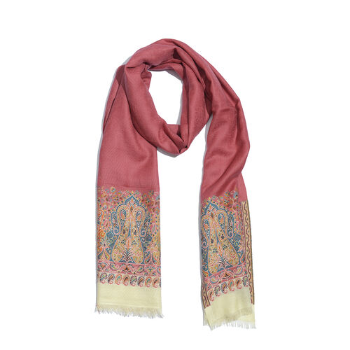 Limited Available - Designer Inspired 100% Merino Wool Multi Colour Paisley Embroidered Pink Colour Scarf (Size 200x70 Cm)