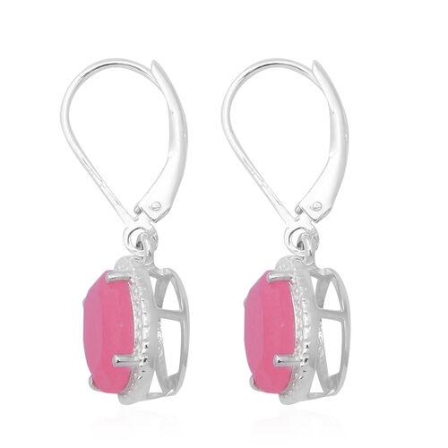 Pink Jade (Ovl 10x8 mm) Lever Back Earrings in Sterling Silver 4.80 Ct.