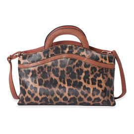 Leopard Print Satchel Bag (Size 36x24x8cm) - Brown