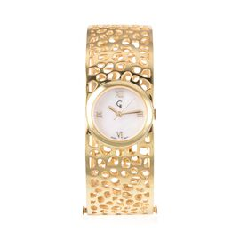 RACHEL GALLEY Swiss Movement Lattice Bangle Yellow Gold Overlay Sterling Silver Watch (Size 7.75), S