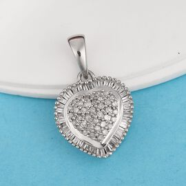 9K White Gold SGL Certified Diamond (Rnd and Bgt) (I3/G-H) Heart Pendant 0.500 Ct.