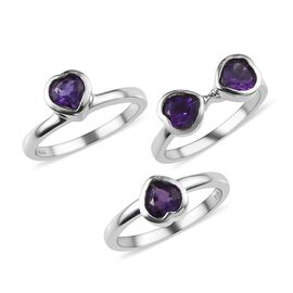 Set of 3 - Amethyst (Hrt) Ring in Stainless Steel 2.16 Ct.