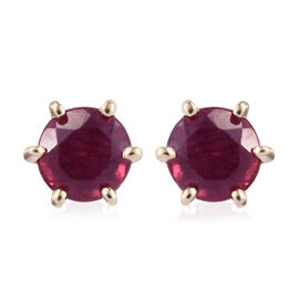 9K Yellow Gold AAA African Ruby (Rnd) Stud Earrings 1.500 Ct.