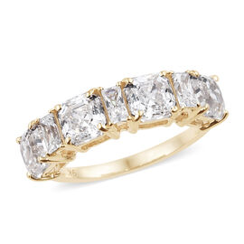 J Francis Made with Swarovski Zirconia ASSCHER CUT 5 Stone Ring in 9K Gold 2.19 Grams