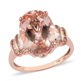 14K Rose Gold Moroppino Morganite and White Diamond Ring 5.85 Ct.