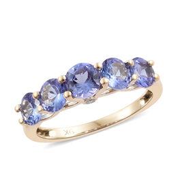 9K Yellow Gold Tanzanite (Rnd), Diamond Five Stone Ring (Size S) 2.000 Ct.