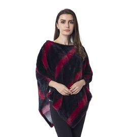 Black and Wine Colour Faux fur Poncho with Strip Pattern (Size 93x80 Cm)