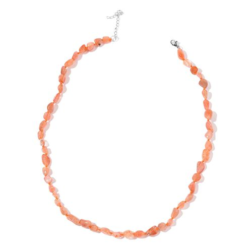 Limited One Time Deal- Sri Lankan Sunstone Necklace (Size 18 with 2 inch Extender) in Rhodium Plated Sterling Silver 65.000 Ct.