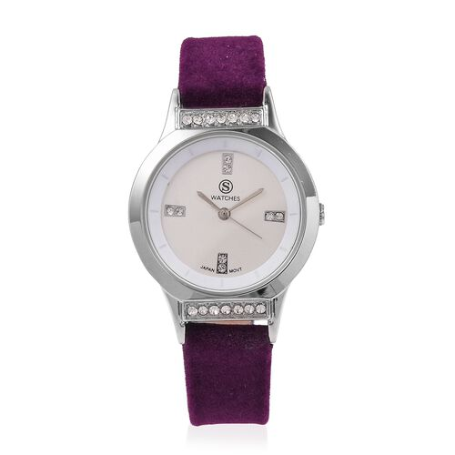 New Season-STRADA Japanese Movement White Austrian Crystal Studded Water Resistant Watch in Silver T