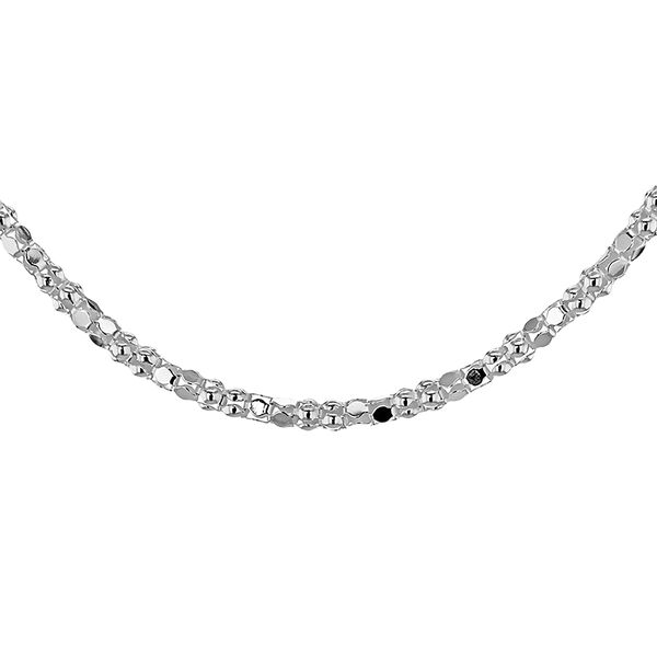 Sterling Silver Mirror Popcorn Chain (Size 20) with Lobster Clasp, Silver wt 3.70 Gms
