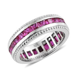 2.50 Carat Created Ruby Full Eternity Band Ring in Platinum Plated Sterling Silver 4.5 Grams