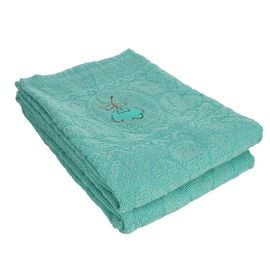 Set of 2 - 100% Cotton Embroidered Terry Bath Towel (Size:130X70 CM cms)- Teal Blue