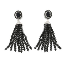 GP Boi Ploi Black Spinel (Ovl), Kanchanaburi Blue Sapphire Chandelier Earrings (with Push Back) in Platinum Overlay Sterling Silver 85.000 Ct., Silver wt 5.60 Gms.