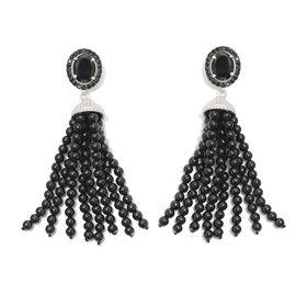 GP Boi Ploi Black Spinel (Ovl), Kanchanaburi Blue Sapphire Chandelier Earrings (with Push Back) in P