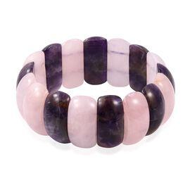 Amethyst (Cush 25x13 mm), Rose Quartz Stretchable Bracelet (Size 7) 335.000 Ct.