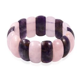 Amethyst (Cush 25x13 mm), Rose Quartz Stretchable Bracelet (Size 7) 335.000 Ct.