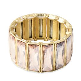 Simulated Champange Stretchable Wide Bracelet (Size 6.5) in Gold Plated