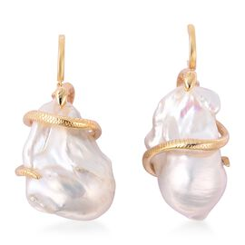 Baroque Freshwater Pearl Snake Drop Earrings (with Push Back) in Yellow Gold Overlay Sterling Silver