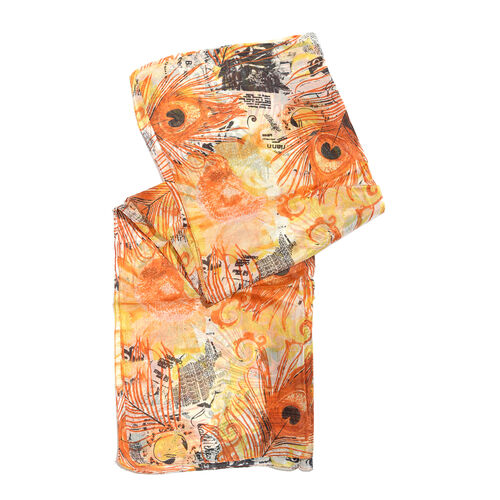 100% Mulberry Silk Orange, Yellow and Multi Colour Handscreen Peacock Feather and Floral Printed Scarf (Size 170X50 Cm)