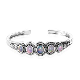 Artisan Crafted Ethiopian Welo Opal (Ovl) Cuff Bangle (Size 7.5) in Sterling Silver 3.75 Ct, Silver