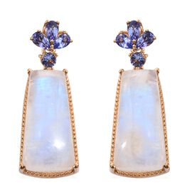 Sri Lankan Moonstone and Tanzanite Earrings (with Push Back) in 14K Gold Overlay Sterling Silver 42.000 Ct, Silver wt 5.83 Gms.