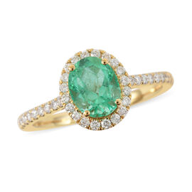 ILIANA 18K Yellow Gold AAA Boyaca Colombian Emerald and Diamond (SI/G-H) Ring 1.20 Ct.