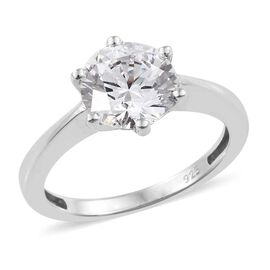 J Francis - Platinum Overlay Sterling Silver (Rnd 8 mm) Solitaire Ring Made with SWAROVSKI ZIRCONIA