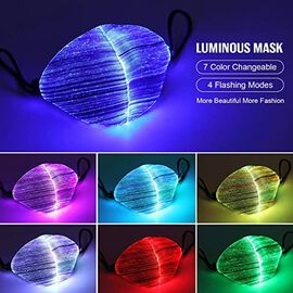 Colour Changing Rechargeable LED Luminous Face Cover (Size 15x21x3 Cm) - White