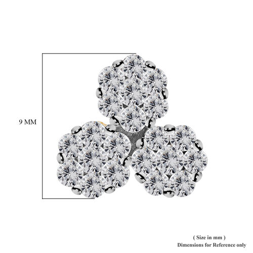 9K Yellow Gold SGL Certified Diamond (I3/G-H) Pressure Set Floral Stud Earrings (with Push Back) 0.50 Ct.
