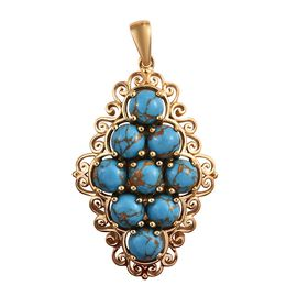 Mojave Blue Turquoise (Rnd 6 mm) Cluster Pendant in 18K Yellow Gold Plated 7.50 Ct.