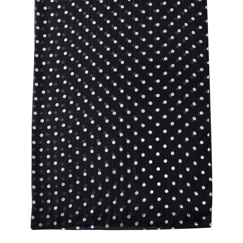 LA MAREY New Collection - 100% Mulberry Silk Polka Dot Print Scarf (Size 180x110cm) - Black and White