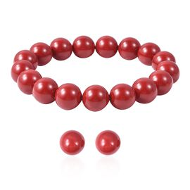 2 Piece Set - Red Colour Shell Pearl (Rnd 11-13 mm) Stretchable Bracelet and Stud Earrings in Rhodiu