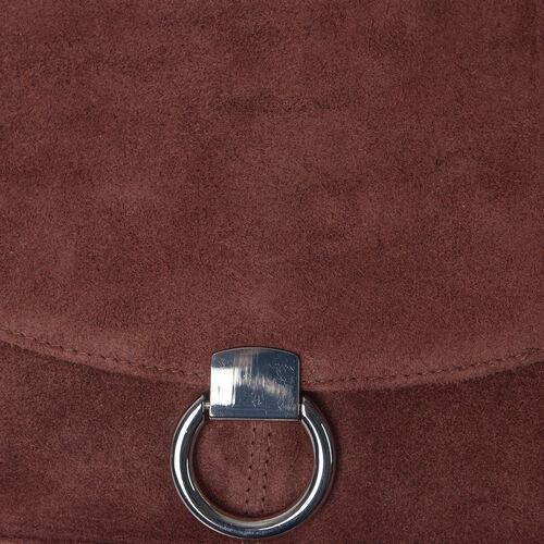 Italian Designer Inspired-100% Genuine Leather Maroon Colour Sling Bag (Size 25x25 Cm)