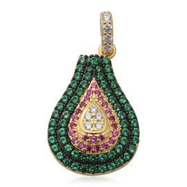 ELANZA AAA Simulated Diamond, Simulated Pink Sapphire and Simulated Emerald Pendant in Black Plating