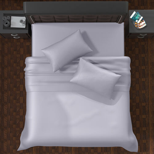 OTO-Serenity Night 4 Piece Set - 100% Bamboo Sheet Set Inclds. 1 Flat Sheet (230x265cm), 1 Fitted Sheet (140x190+30cm) & 2 Pillowcases (50x75cm) in Light Grey - DOUBLE