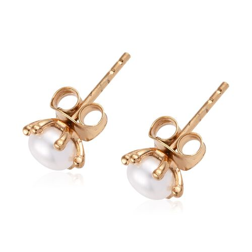 Fresh Water Pearl (1.50 Ct) 14K Gold Overlay Sterling Silver Earring  1.500  Ct.