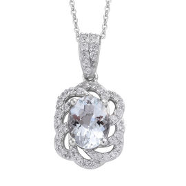 Espirito Santo Aquamarine (Ovl), Natural Cambodian Zircon Pendant with Chain (Size 20) in Platinum Overlay Sterling Silver 2.000 Ct.
