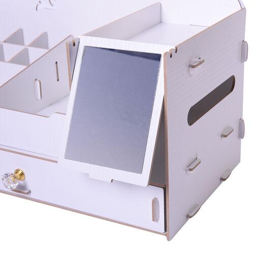 DIY Jewellry and Cosmetic Oragnizer with Mirror (36x19.5x23cm) - White