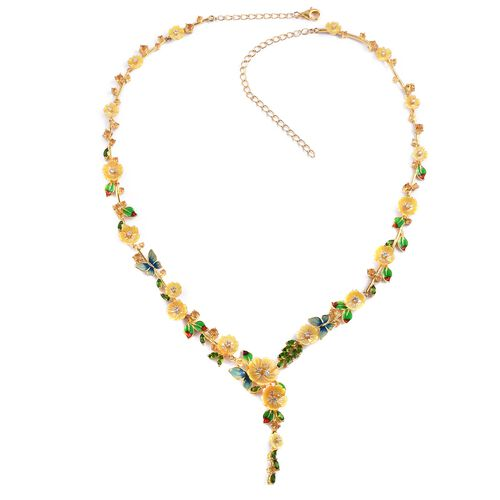 Jardin Collection - Yellow Mother of Pearl, Citrine, Russian Diopside Multi Gemstone Necklace (Size