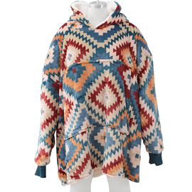 Super Auction - Printed Flannel Sherpa Family Blanket Sweatshirt (Size 95x78.5 Cm) - Multicolour