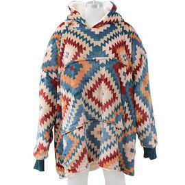 Super Auction - Printed Flannel Sherpa Family Blanket Sweatshirt (Size 95x78.5 Cm) - Multicolour